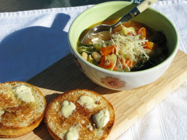 Tuscan soup and gluten free French rolls