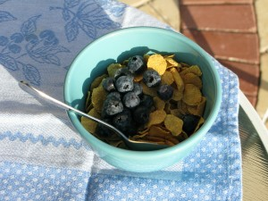 Gluten free cornflakes with blueberries