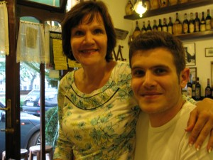 My son, Alex, and me-Al Tranvai Trattoria, Florence